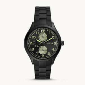 NIB Fossil Men's Black Stainless Steel Watch.